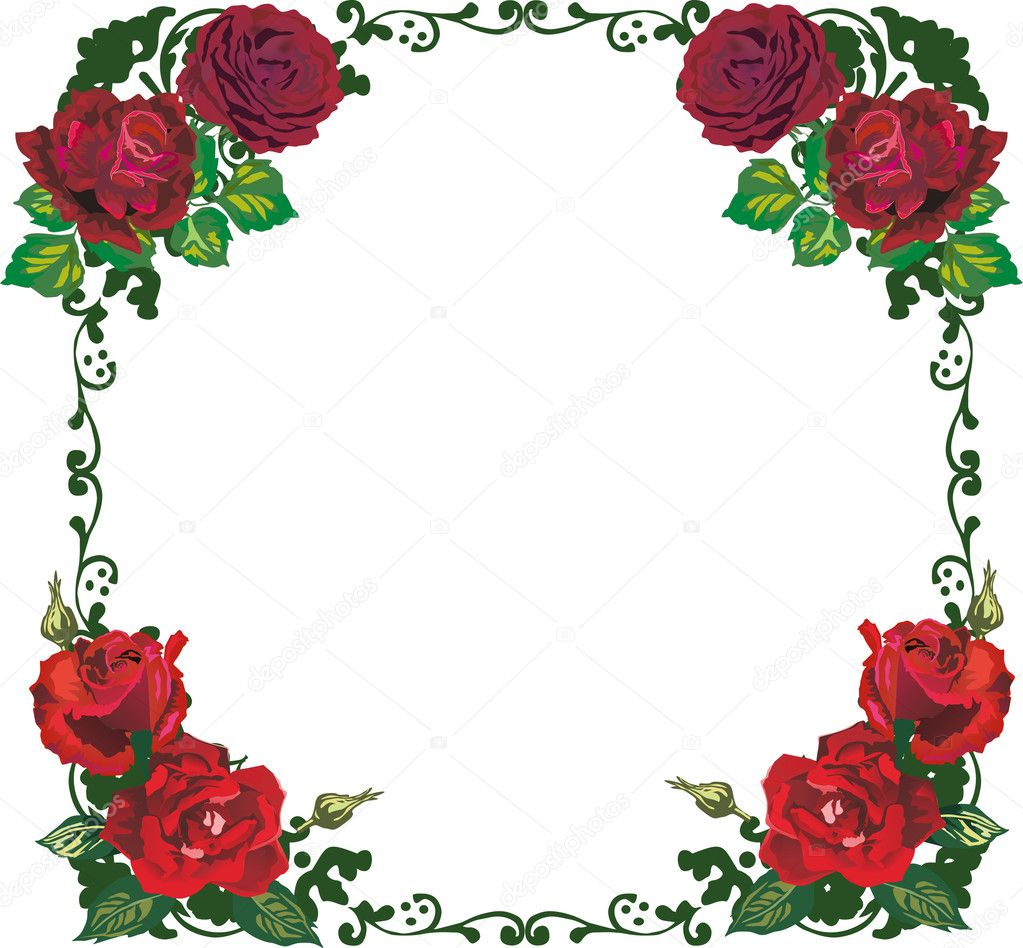 Stock Vector Dr Pas 6261329: Beautiful Isolated Red Rose Frame Pattern