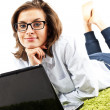 Woman with computer — Stock Photo