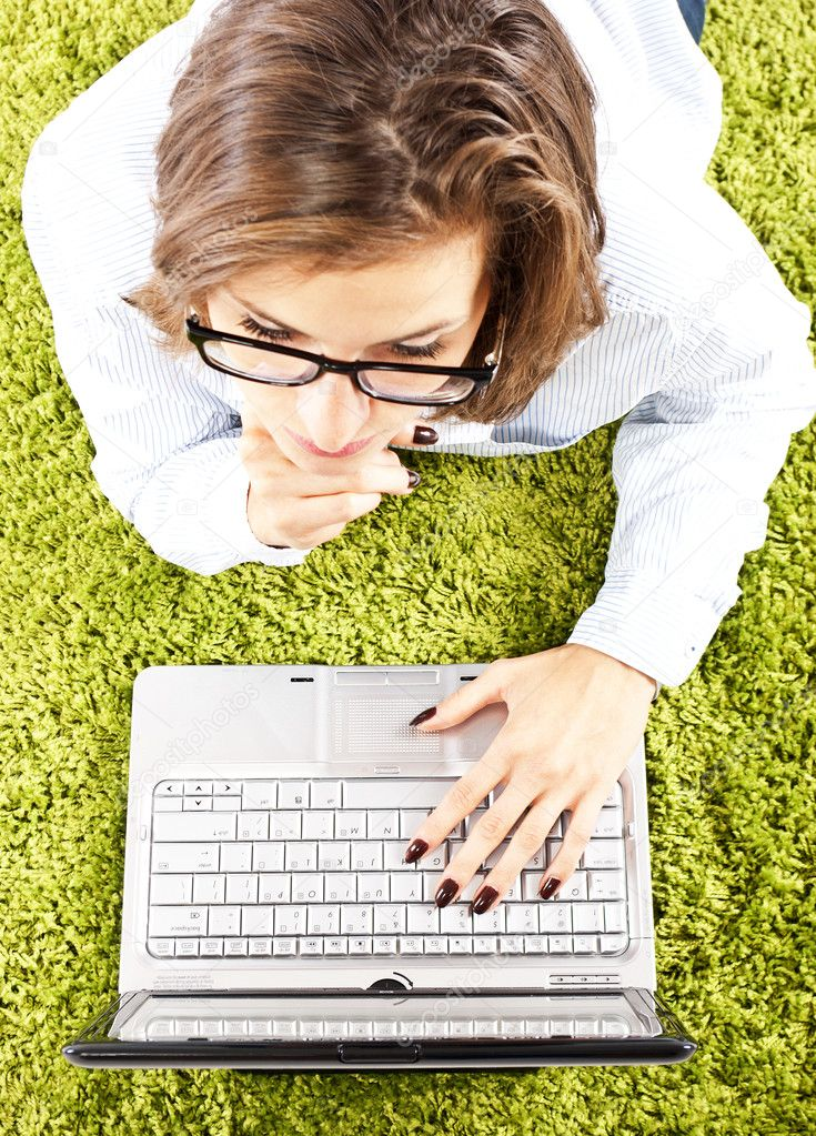 Woman with computer  Stock Photo #6822189