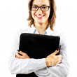 Woman with files — Stock Photo