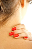 Woman's neck pain — Stock Photo