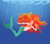 Skönhet sjöjungfru — Stockvektor