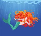 美しい人魚 — ストックベクタ
