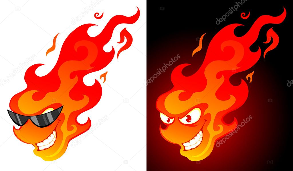 Smiling cartoon fire with on white and dark background — Stock Vector #7647645