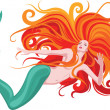 Red-haired mermaid - Stock Vector