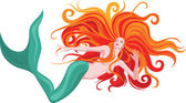 Red-haired mermaid — Stock Vector