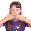 A young girl covered her mouth with his hands, studio — Stock Photo