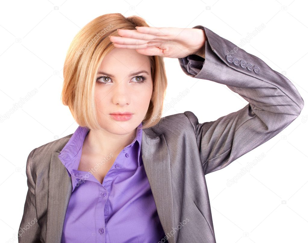 Businesswoman looks into the distance, the studio — Stock Photo #7544339