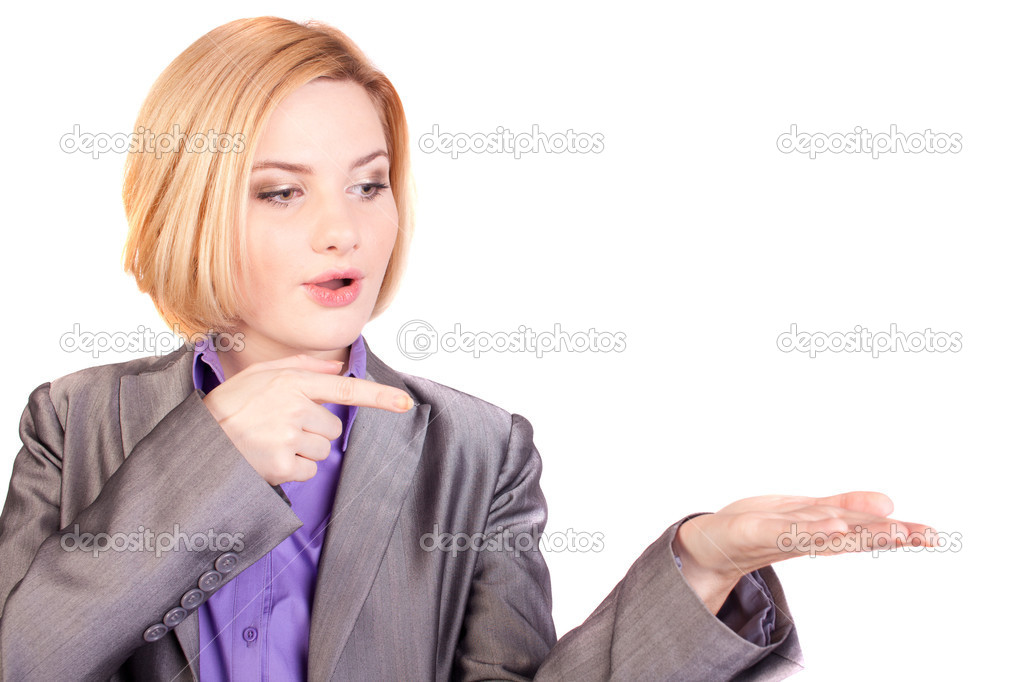 Business woman showing a finger on the palm  Stock Photo #7544361