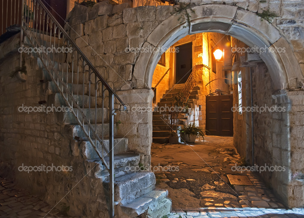 Night courtyard with lantern and stairway in Trogir Croatia  Stock Photo #7087504