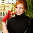 Portrait of a beautiful red-haired woman — Stock Photo