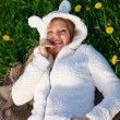 Beautiful funny pregnant woman in a suit lamb — Stock Photo