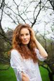 Portrait of a beautiful redhead girl — Stock Photo