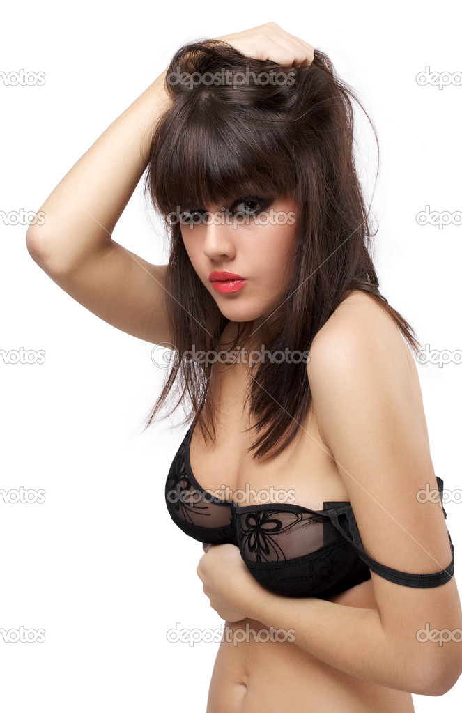 Portrait of attractive young model in black lingerie isolated over white background — Stock Photo #7715557