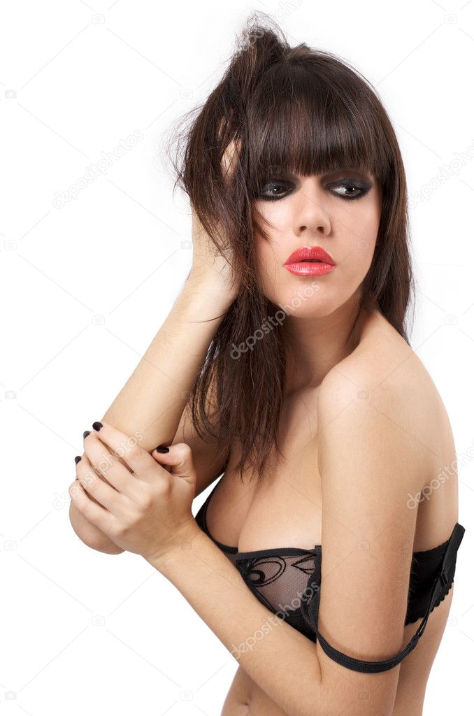 Portrait of attractive young model in black lingerie isolated over white background — Stock Photo #7715572