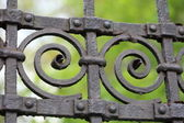 Steel picket fence — Stock Photo