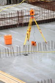 Equipment theodolite tool at construction site — Stock Photo