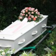 White coffin with pink sympathy flowers — Stock Photo #7546405