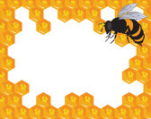 The vector bees and honeycomb with honey — Stock vektor