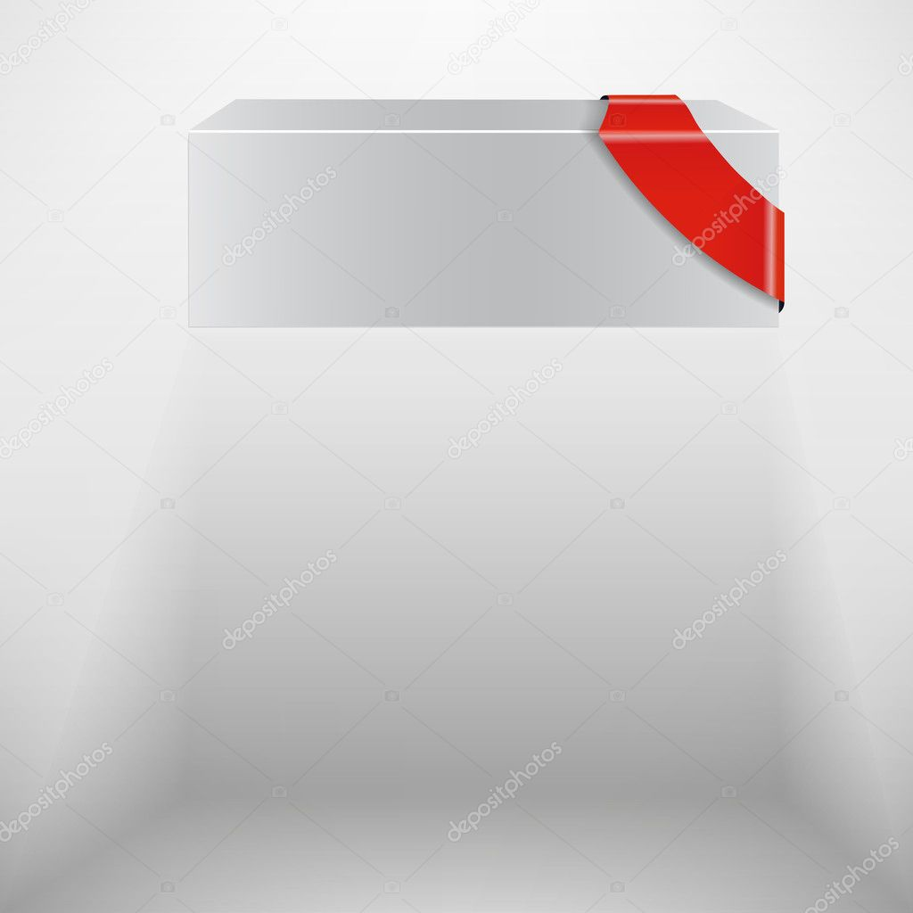 The abstract vector white box with red ribbon eps 10 — Stock Vector #6811158