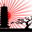 The Japanese landscape silhouette vector — Stock Vector