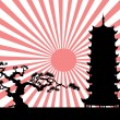 The Japanese landscape silhouette vector — Stock Vector #6937345