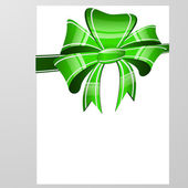 Green bow on a white background — Stock Vector
