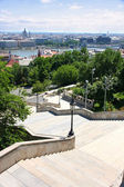The stairs of the Fisherman's Bastion and panorama, Budapest, Hu — Stock Photo