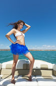 The glamour beautiful girl on the yacht — Stock Photo