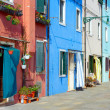The sunny side streets on the island of Burano — Stock Photo