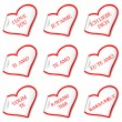 Stock Vector: I love you stickers
