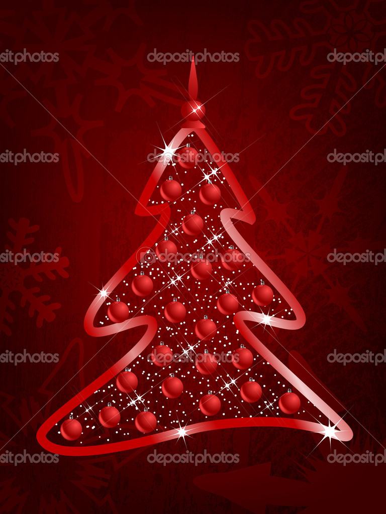 Abstract red background with Christmas tree — Stock Vector #7567633