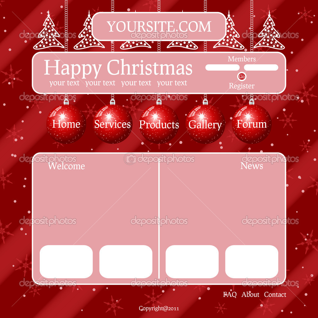 Red Christmas theme template for your site — Stock Vector #7568251