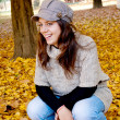 Young girl and autumn — Stock fotografie