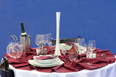Glasses and dinner service — Stok fotoğraf
