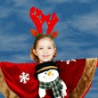 Stock Photo: Beautiful little girl with deer Rudolf horn on head