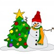 Snowman w. Christmas Tree — Stockvektor