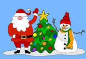Sneeuwpop, santa, boom — Stockvector