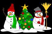 Sněhuláci w. vánoční stromeček — Stock vektor