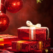 Christmas decoration - gifts and balls — Stock Photo