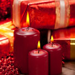 Candles and gift — Stock Photo