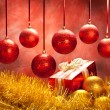 Balls and gift - christmas decoration — Stock Photo
