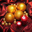 Christmas baubles and candles — Stock Photo #7635666