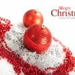 Merry Christmas - red baubles — Stockfoto