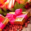 Xmas gifts and spruce tree — Stock Photo #7635742