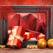Christmas decoration - gifts, balls and spruce tree — Stock Photo