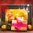Christmas decoration - gifts and balls — Stock Photo #7635779