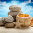 Sea Spa - stones, bath salt and shells - Stock Photo