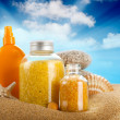 Sunbath - suntan oil and spa minerals - Stockfoto