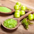 Stock Photo: Aromatherapy - green bath salt